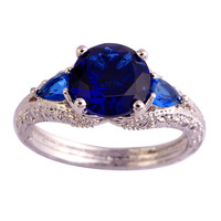 New Classic Style Endearing Women Jewelry Blue Sapphire Quartz 925 Silver Ring Size 6 7 8 9 10 11 Wholesale Free Shipping