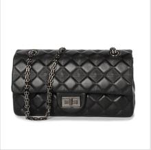 girls classic real  leather  handbags with metal chain  handbag for party  brand shoulder bag