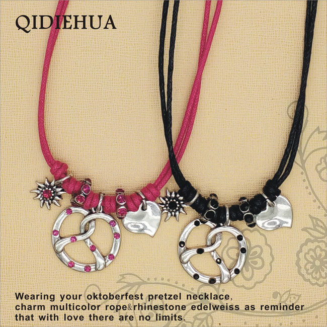 Hot Selling Bavaria Shiny Rhinestone Choker Necklace Women Fashion Silver Pretzel Edelweiss Love Heart Dangle Necklace Jewelry
