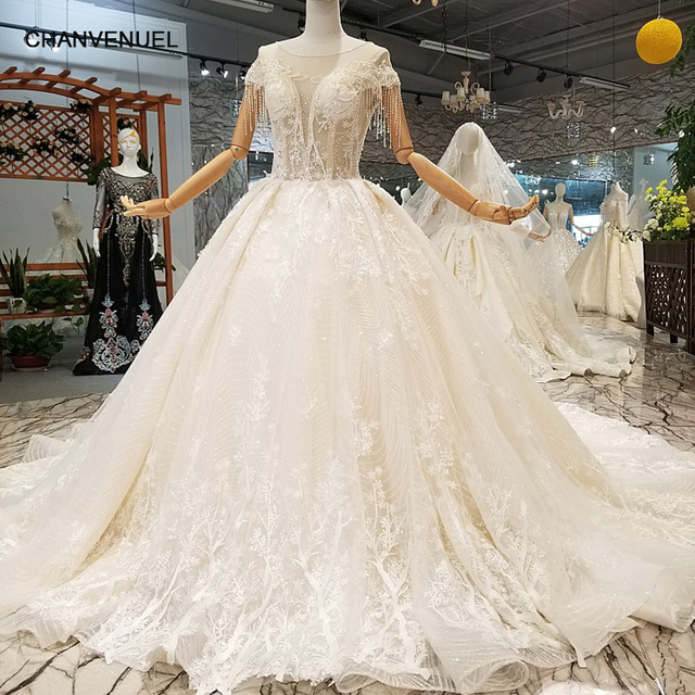 Ls647544 Quick Free Shipping Wedding Gowns O Neck Beaded Short Sleeve Ball Gown Flowers