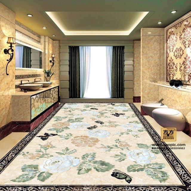 Free Shipping Marble Texture Modern Floral Floor Stereo Self Adhesive Waterproof Wallpaper Bedroom Living Room