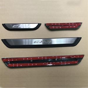 Image 2 - Накладка на порог автомобильной двери, защитная Накладка на порог, наклейки на педаль, внешняя отделка для Mazda CX 3 CX3 2017 2018, аксессуары для автостайлинга