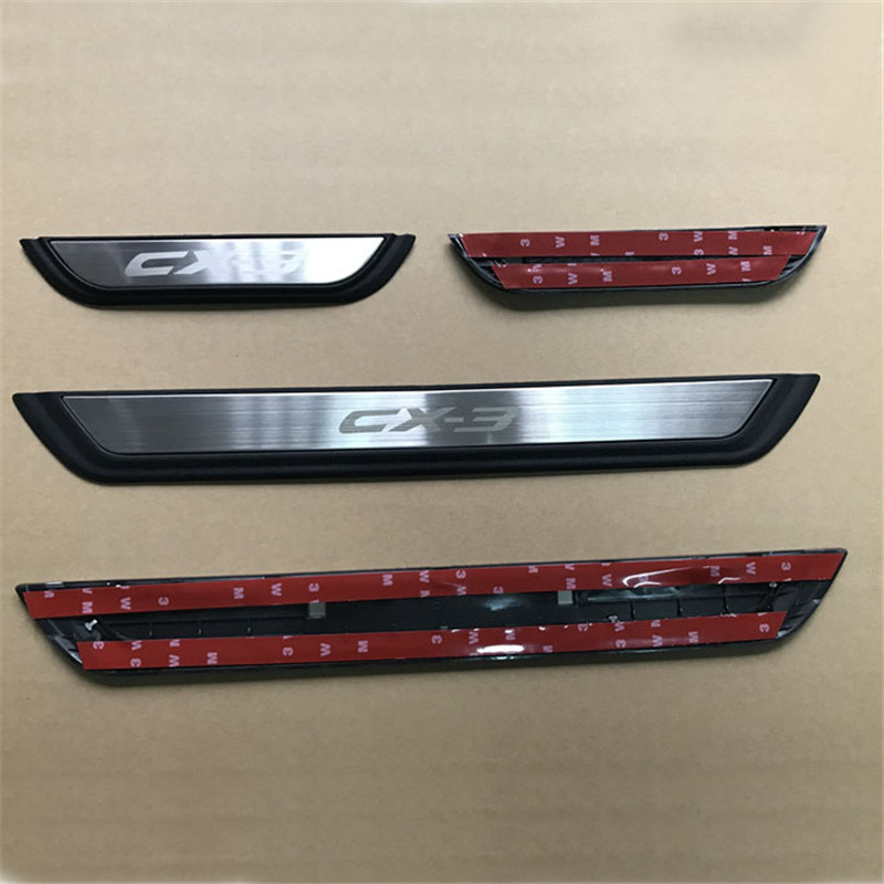 Image 2 - Auto Door Sill Scuff Plate Guard Welcome Pedal Cover Stickers Exterior Trim For Mazda CX 3 CX3 2017 2018 Car Styling Accessories-in Chromium Styling from Automobiles & Motorcycles