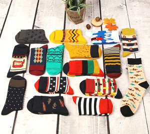 Image 2 - 12pairs/lot Colorful Casual Mens Happy Socks High Quality Combed Cotton Men Socks Cartoon Designs Funny Crew compression socks