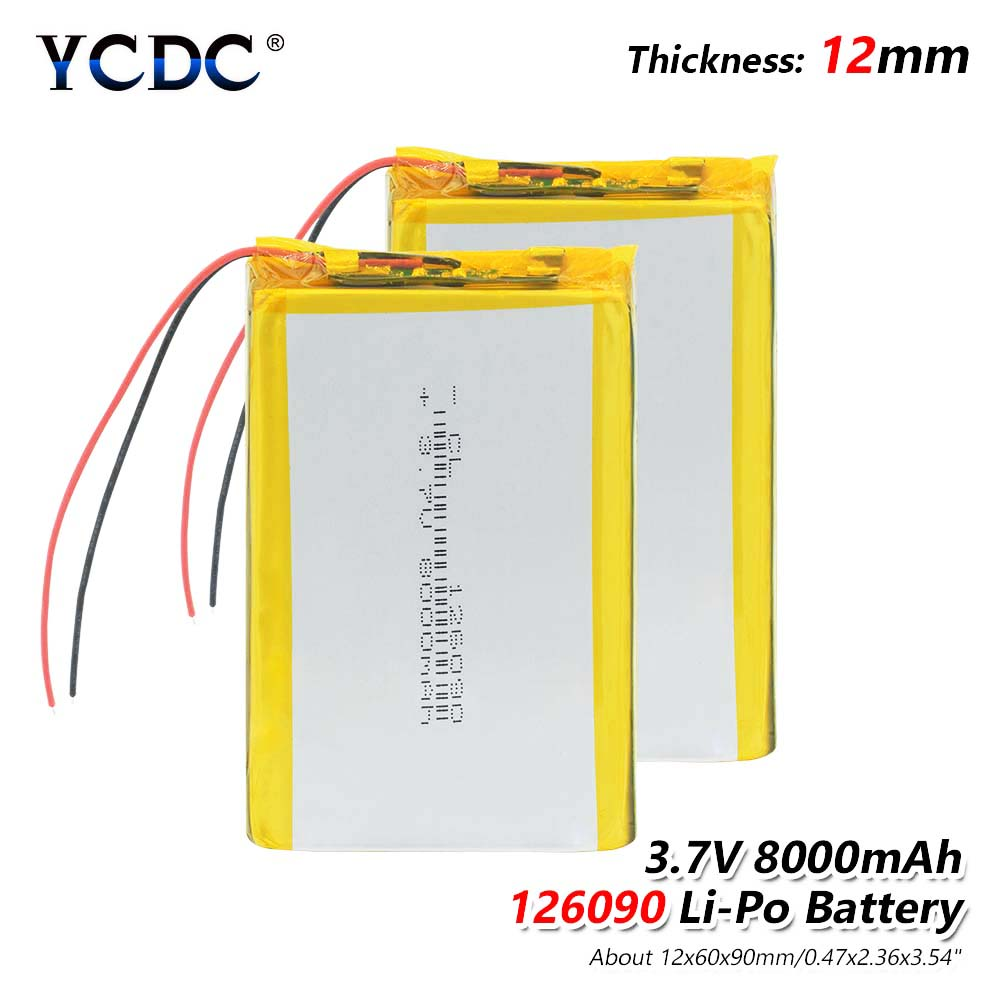 126090 3.7 V Lithium Polymer Battery 8000Mah Li-Po Rechargeable Battery For MP4 MP5 Tablet E-book GPS Power Bank Medical Devices