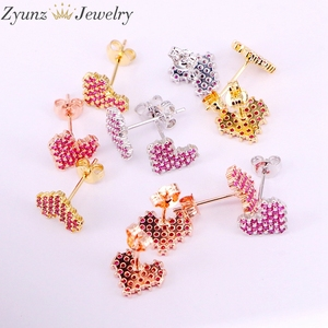 Image 4 - 10Pairs, 10*9mm, Gold filled Jewelry Earrings Heart Shape rose red cz micro pave Stud Earring