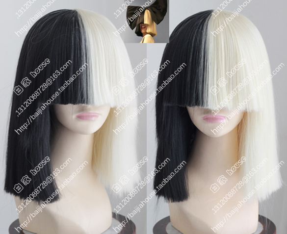 cosplay wig u sia Black and Platinum Blonde bob Short straight hair Fashion  models women wig fashion girl wigs e90bc0633