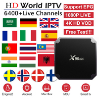 Best French IPTV Box X96 mini Android TV Box with 5200+ 1 Year IPTV Europe France Arabic Africa Morocco football Smart IP TV Box
