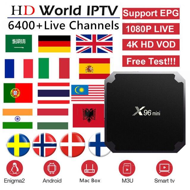 Meilleur français IPTV boîte X96 mini Android TV boîte avec 5200 + 1 an IPTV Europe France arabe afrique maroc football intelligent IP TV boîte