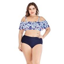Plus Size Swimsuit Ruffled Off Shoulder Bikini Plant Print Swimwear Large Sizes Red Edge High Wa