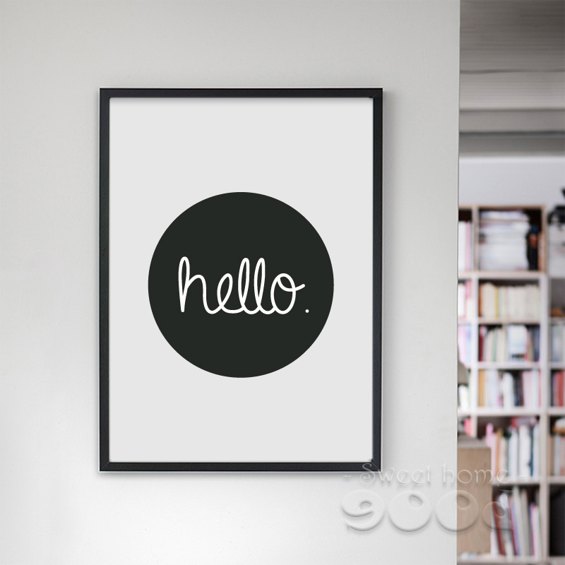 cartoon hello quote canvas art print wall pictures for. Black Bedroom Furniture Sets. Home Design Ideas