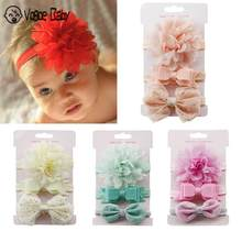 3pc Hair Band Baby Girl Boy Lace Flower Headband For Kids Children Skinny Stretchy Bowknot Elastic Hair Girl Hairclips Girls(China)