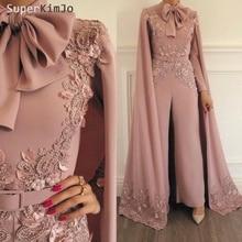 SuperKimJo Jumpsuit Rompers for Women Dusty Pink Beaded Lace Applique Evening Pants Dubai Arabic Dresses
