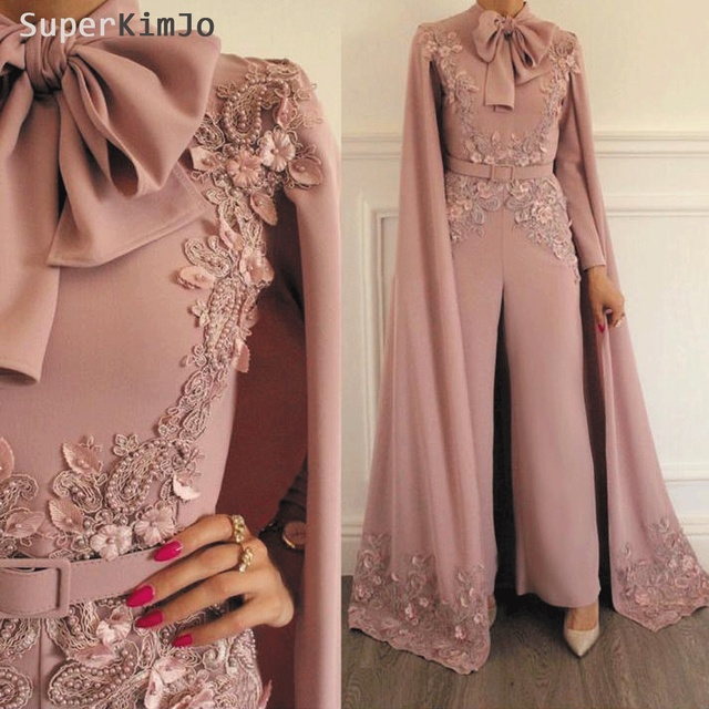 aca7c38139f2 SuperKimJo Jumpsuit Rompers for Women Dusty Pink Beaded Lace Applique  Evening Pants Dubai Arabic Evening Dresses
