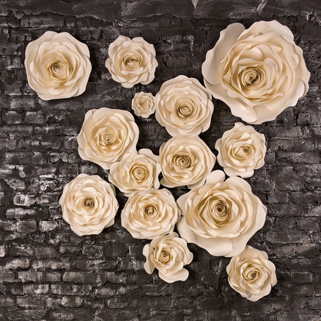 Aliexpress buy 14pcs ivory giant paper flower set large 14pcs ivory giant paper flower set large flower big paper flower for wedding party mightylinksfo