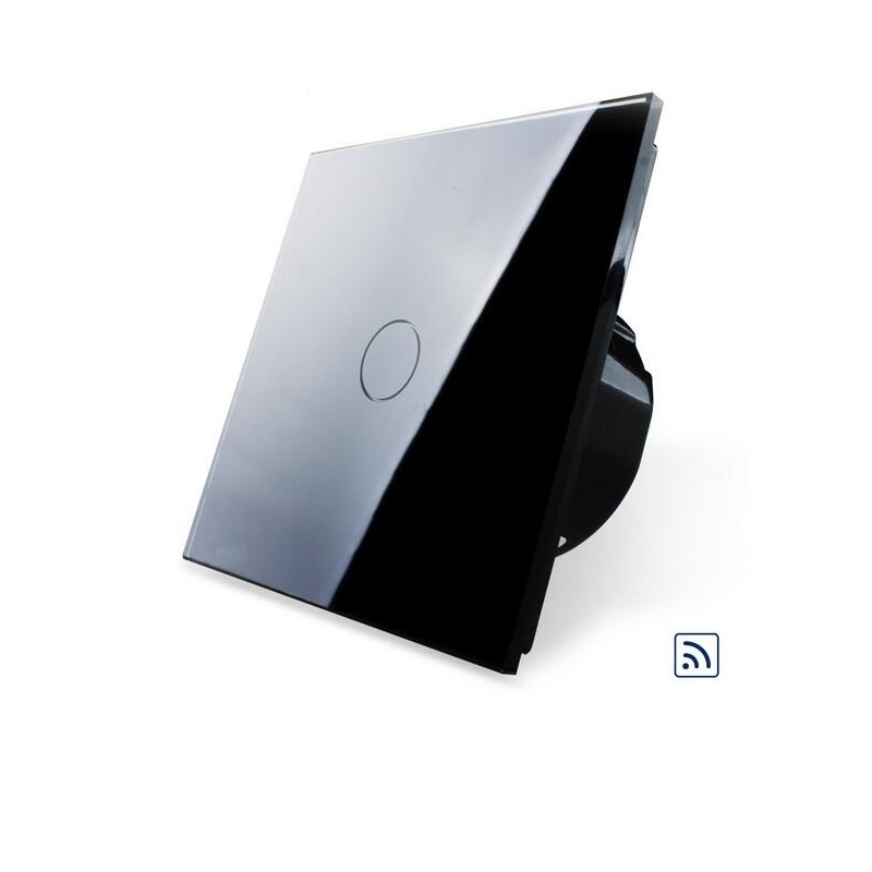 EU Standard Remote Switch, OS-01R-2,Black Crystal Glass Panel, 220~250V Wall Light Remote&Touch Switch