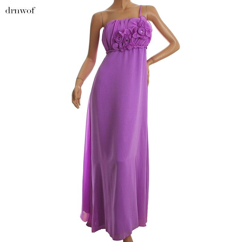 2017 New Chiffon Long Womens Bridesmaid Dress One Shoulder