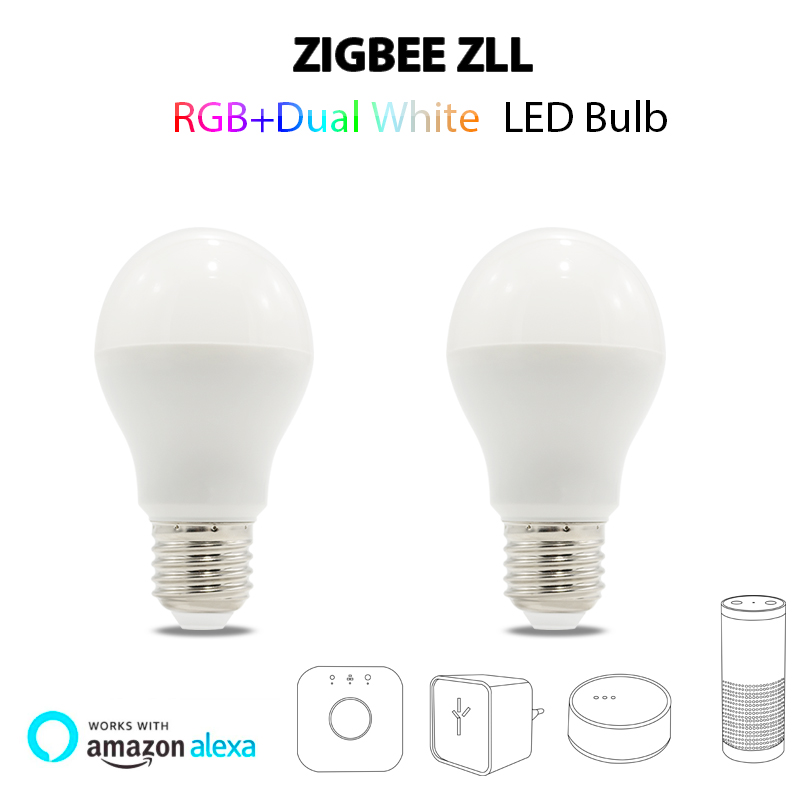 ZIGBEE RGBW RGB+CCT dual white APP led bulb lamp 6W Equivalen E27 bulb lights zll light link for hue Echo Alexo plus Home lampe home smart rgb rgbw zigbee led strip controller zigbee app control zll light hue compatible with echo plus osram lightify wifi