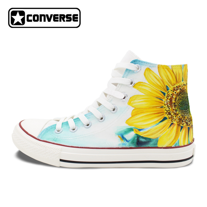 Converse Chucks Taylor High Top Skateboarding Shoes Hand Painted Sunflower Flower Canvas Sneakers Men Women Christmas Gifts