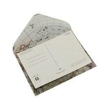 Enveloppe à fenêtre en acide sulfurique, style carte européenne rétro, couverture carte dinvitation, 100x110mm, vente en gros