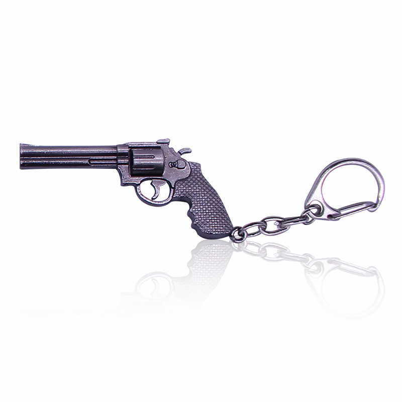 HUMANO FINO Punk Fashion Hip Hop Simulation Weapon Model Keychain Male Gun Key Chain For Men Cool Charm Gift Jewelry