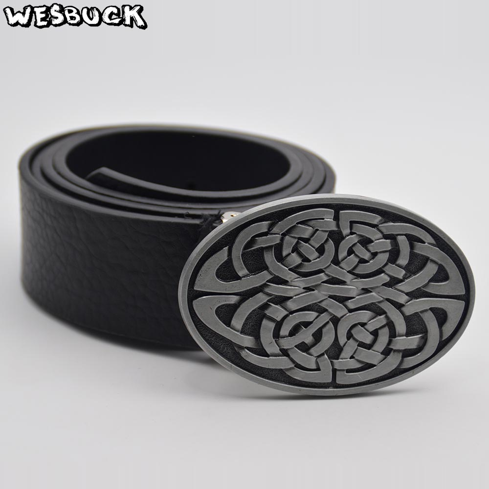 Buckles & Hooks Humor 5 Pcs Moq Wesbuck Brand Pu Belt Knot Series Metal Buckle Geometric Weave Pattern Men Simple Casual Belts Trend Women Jeans Belt To Prevent And Cure Diseases