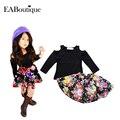 EABoutique новорожденных девочек одежда установить 2015 зимние девушки комплектов одежды модные девушки цветочные юбка набор 2 шт. набор
