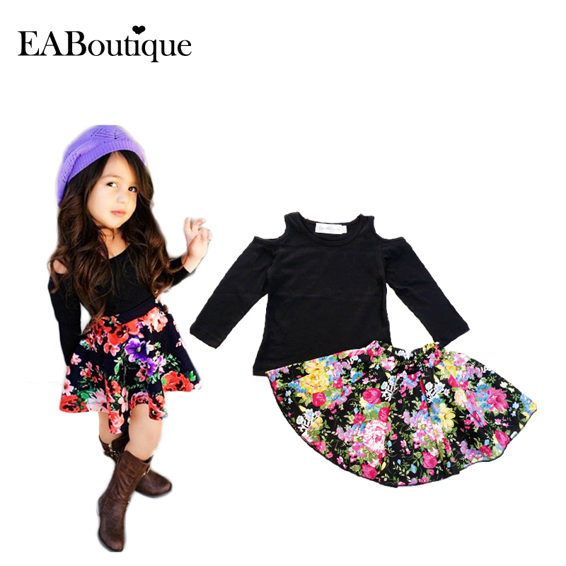EABoutique baby girls clothes set 2015 winter girls clothing sets fashion girls floral skirt set 2
