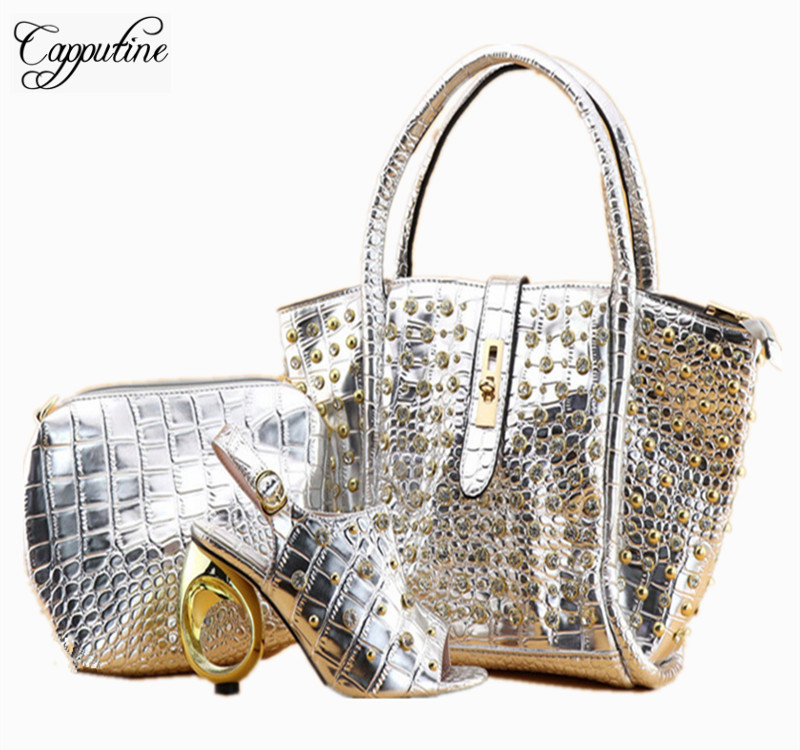 Capputine Hot Selling Shining PU Leather Woman Shoes And Bag Set African High Heels Shoes And Bags Set For Wedding Usage high qulity african woman high heel shoes and bags set hot selling italian pumps shoes and bag set for wedding mm1035