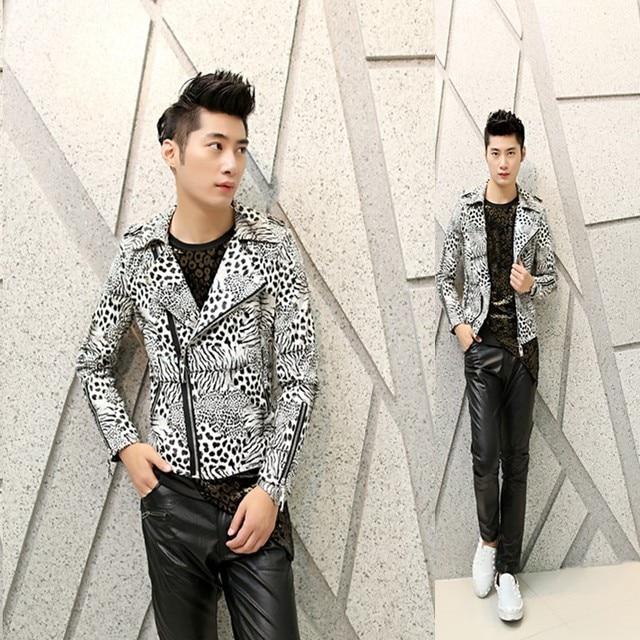 2017 новая коллекция весна мужской моды случайные куртка мужская Корейской Тонкий ПУ куртка печати парикмахер прилив кожаная куртка
