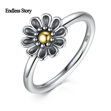Endless Story Vintage 925 Sterling Silver Flower Finger Ring Black Ancient Rings for Women Jewelry