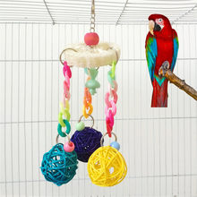 new Parrot Bird Toy - Small Colored Wood Rope Loofah Vine Swing With Ball Colors Toys Pet Supplies Funny Tool For Outdoor(China)