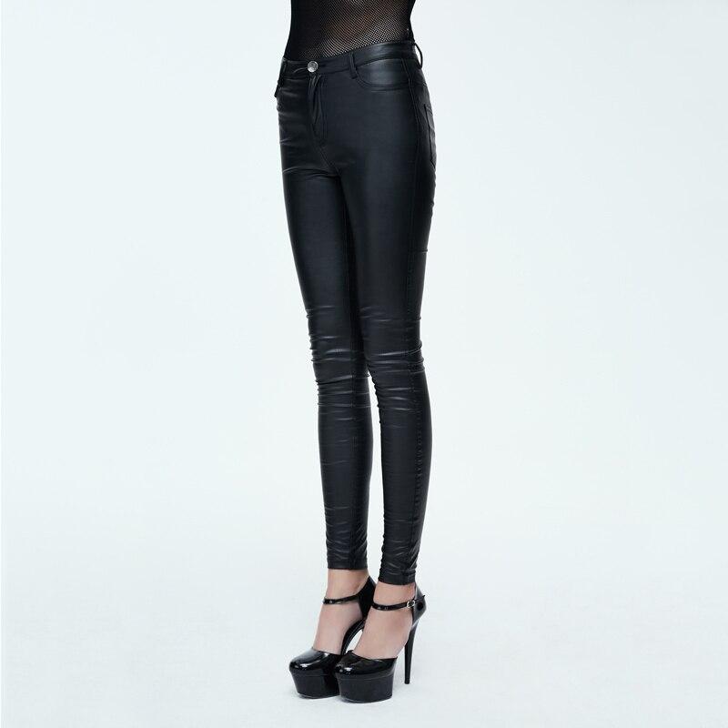 Diable mode PU cuir femmes été pantalon Steampunk solide noir élastique taille extensible Long Leggings vente chaude - 2