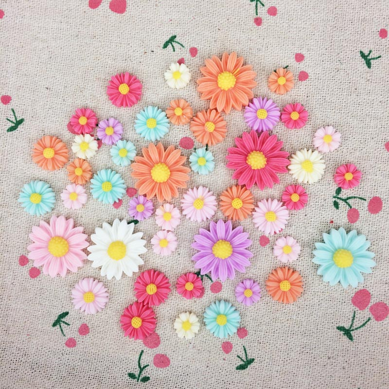 Mixed Color Flatback Flat Back Resin Flower Cabochon Kawaii DIY Resin Craft Decoration Scrapbook Accessories For Phone Case