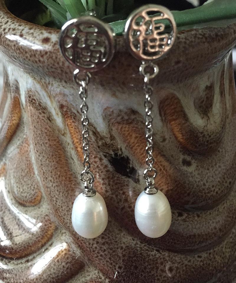Livraison gratuite vente chaude Femmes De Mariée Bijoux De Mariage>>> Culture Blanche Perle Post Boucles D'oreilles Long Gland Bonheur Silve