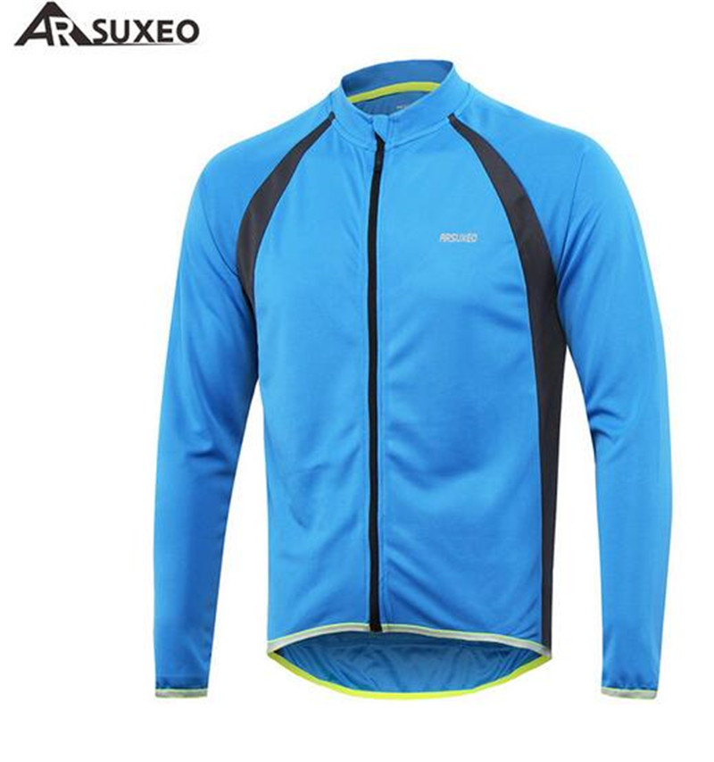 ARSUXEO Outdoor Sports Cycling Riding Jersey Long Sleeves Spring Autumn Bike Bicycle MTB Clothing T Shirts Wear Bike Jersey