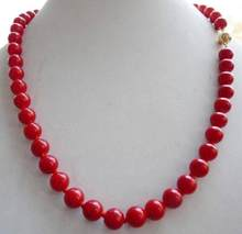 Hot sale % Real 10mm Red Sea Coral Round Bead Necklace 18''(China)