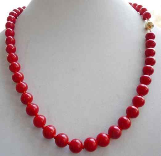 Hot sale % Real 10mm Red Sea Coral Round Bead Necklace 18''