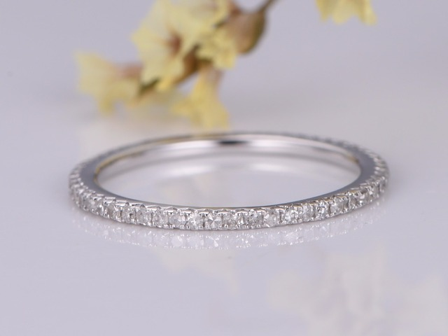 14k White Gold Natural Diamond Wedding Band Full Eternity Engagement Ring Stacking Anniversary Matching