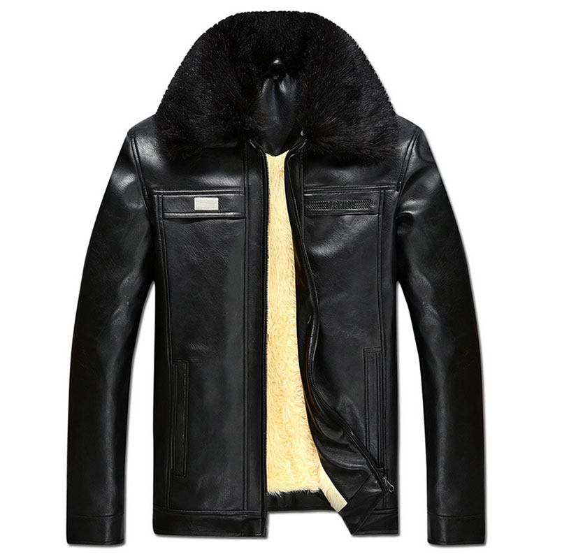 Autumn and winter men's warm short outwear faux leather big fur collar Pu bomber  jackets father - Compare Prices On Mens Bomber Jacket With Fur Collar- Online