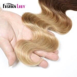 Image 5 - Mode dame pré colorée brésilienne cheveux raides cheveux humains armure 1B/27 Ombre cheveux humains paquets 1/3/4 paquet par paquet non remy