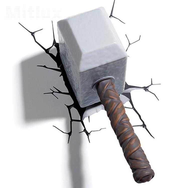 thor hammer 3d led decoration battery night lig htwall. Black Bedroom Furniture Sets. Home Design Ideas