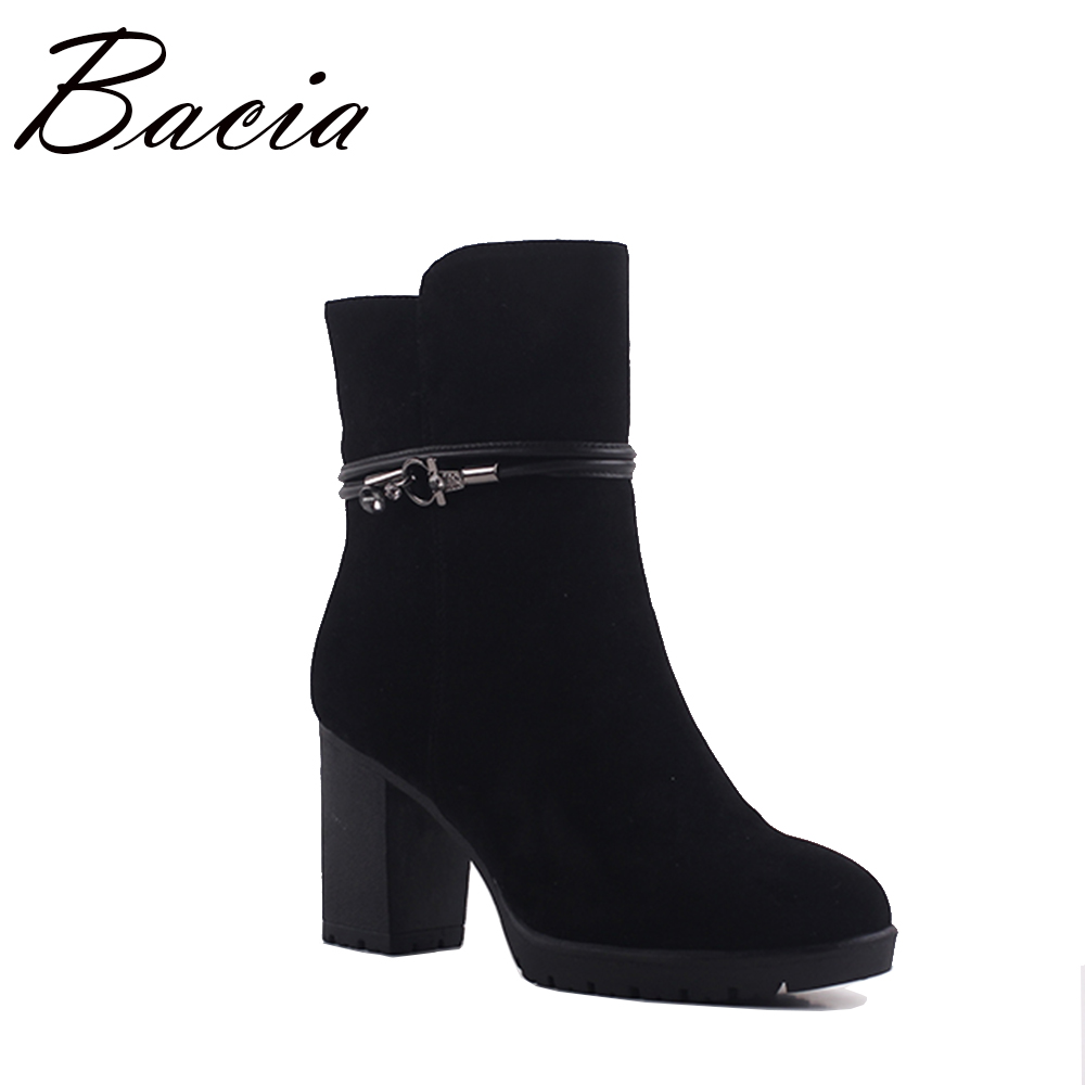 Bacia Ladies Fashion High Heels Boots Sexy Black Sheep Suede Boots Winter Warm Wool Fur Ankle Boots Genuine Leather Shoes SA070 warm winter fur leather women ankle boots high heels sexy comfortable shoes ladies short boots cutout shoes big size