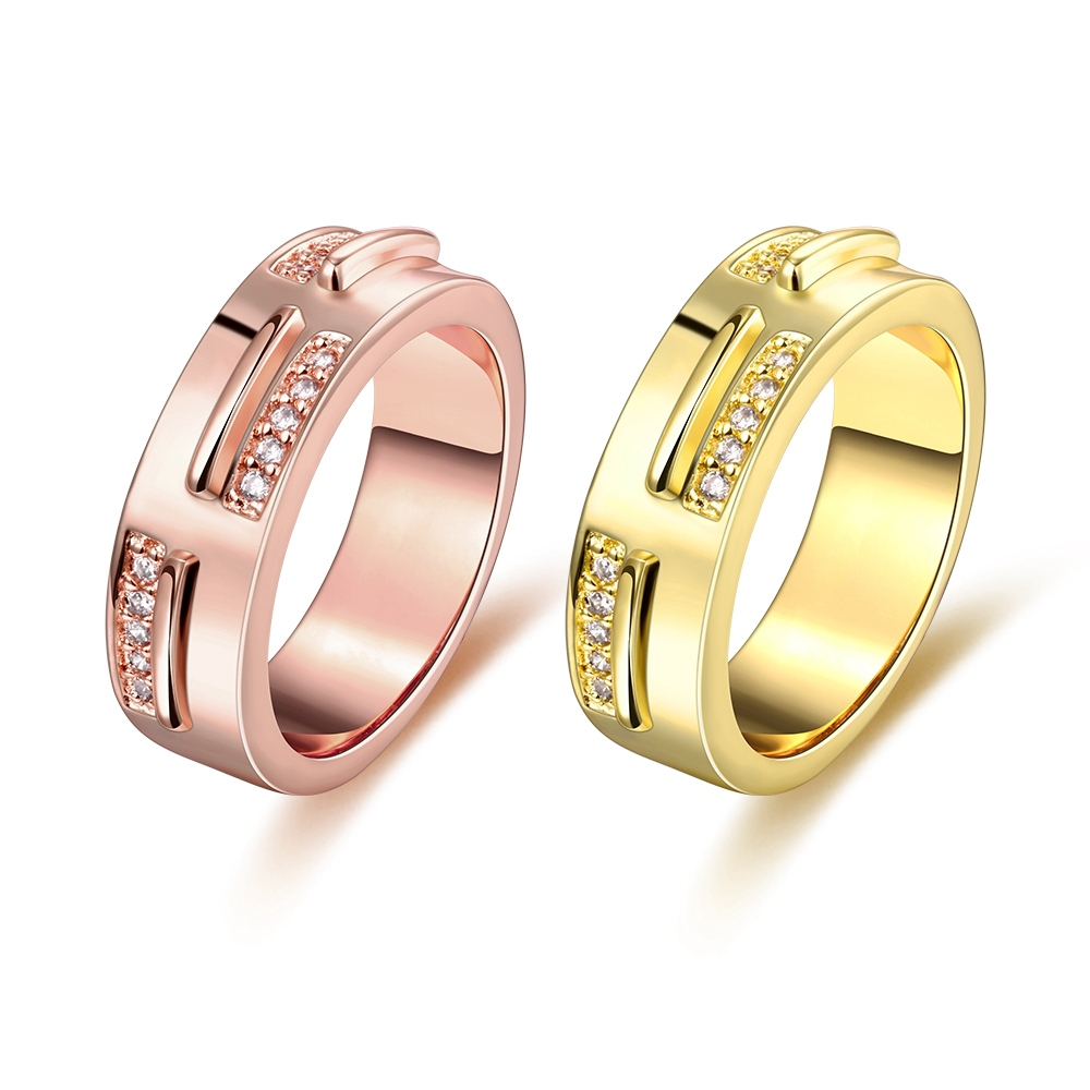 hot sale cheap 18k real gold plated hollow out geometric cubic zirconia golden engagement finger rings - Cheap Real Wedding Rings