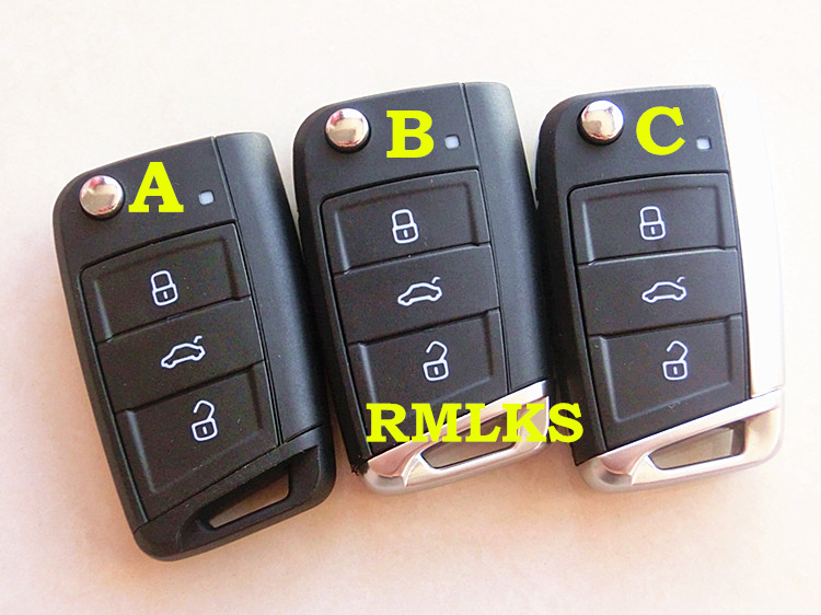 RMLKS Flip Folding <font><b>Key</b></font> Shell Fit Für VW <font><b>Golf</b></font> <font><b>7</b></font> <font><b>Remote</b></font> Keyless Auto Schlüssel Fob Uncut HU66 Klinge image