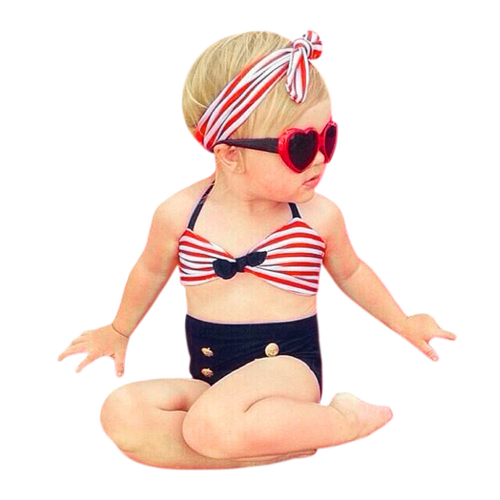 Baby Girl Set 3Pcs Infant Kids Stripes Swimwear Straps Top Solid Color Cute Headband Summer Swimwear Clothes Roupa Menina @Y130 cupcake birthday outfits leopard baby romper dress headband shoes infant lace tutu set roupa bebe menina winter girl clothes