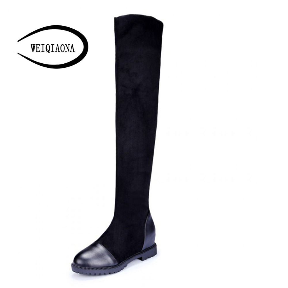 women boots Faux Flock/leather Womens Thigh High Boots comfortable Flat Heel Comfort warm short plush Slouchy Over the Knee Boot