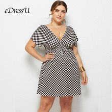 Plus Size 2019 Plaid Vintage Summer Dress Sexy V Cut Short Sleeves Holiday Beach Wear Casual Daily eDressU LMT-6021