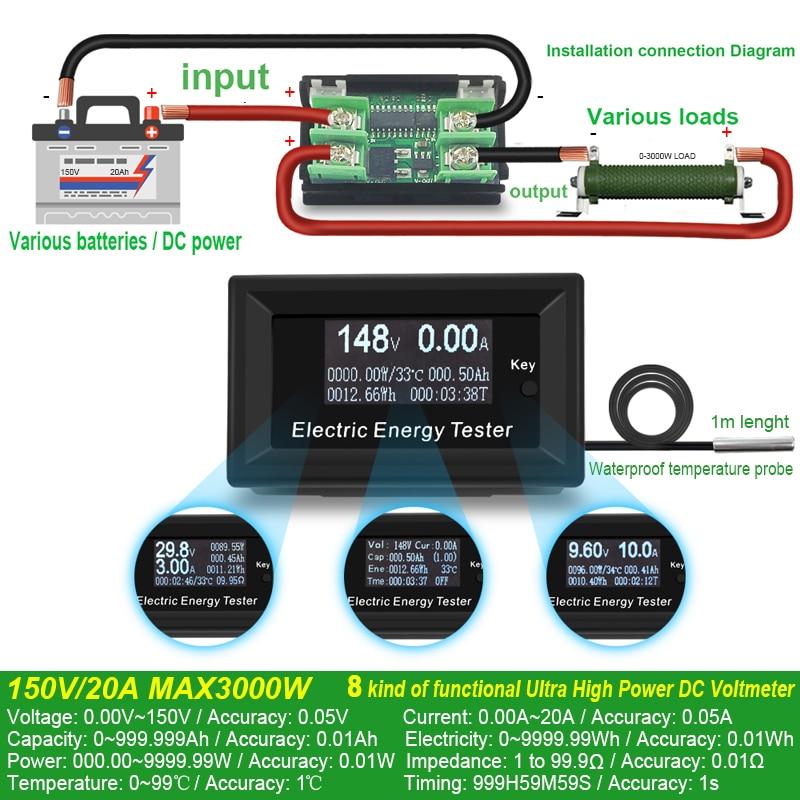 """""""ATORCH"""" nuolatinės srovės matuokliai skaitmeninis voltmetro - Matavimo prietaisai - Nuotrauka 3"""