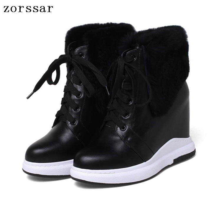 {Zorssar} Fashion womens snow boots Genuine Leather height increasing boots women high heel ankle boots Platform wedge shoes czrbt portable solo natural genuine cow leather women height increasing 3cm heel 4cm boots ladies fashion ankle boots walking